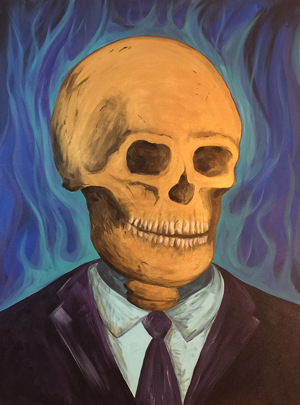 Skull Suited in Hell Painting